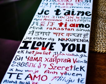 Love Language Painting - Original Acrylic on Wood - Valentines Gift - Anniversary - I Love You - Thinking of You - Free Shipping