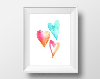 SALE -  Watercolor Hearts, Mini Heart Shape, Baby Nursery Wall Decoration, Girly Girl Poster Print, Blue Coral Pink, Dorm, Playroom