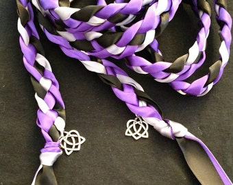 Purple, Black, Silver Handfasting Ceremony Braid- Celtic Heart Knot-6 or 9 feet- Wedding-- Tying the Knot- Handfasting Ceremony- Fast Ship