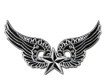 Star with Wings Embroidered Applique Iron on Patch 11.7 cm. x 6.5 cm.