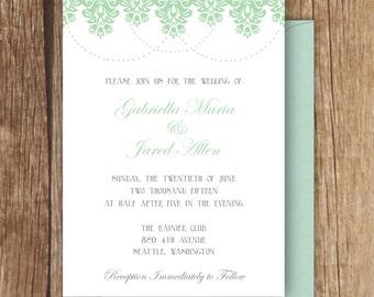 Decorative Damask Invitation - A7 - Damask Wedding Invitation