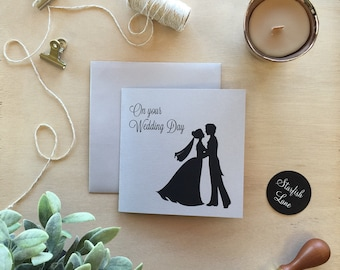 Wedding Day - Bride & Groom Square Card with Envelope