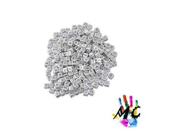 set of 200 letters square 6 mm silver acrylic beads