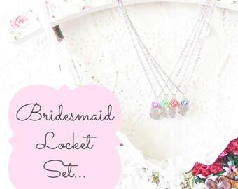 Silver Locket Necklace - Round Silver Locket - Silver Flower Locket - Bridesmaid Locket Set - Silver Locket Gift Set - Silver Photo Locket
