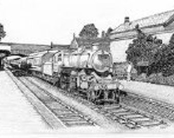 Pen drawing giclee print of Redditch station in the  1960s with an Ivatt 4MT