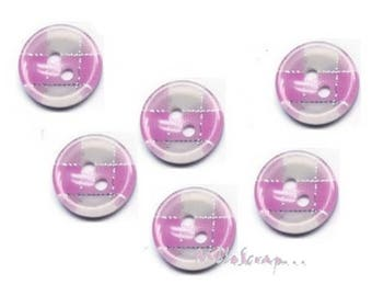 Set of 6 scrapbooking card making embellishment Pink Plaid buttons *.