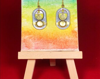 Bohemian Recycled Look Aluminum Soda Pop Tab Earrings