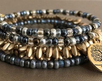 Gold Tree of Life Charm Trio Memory Wire Bracelets