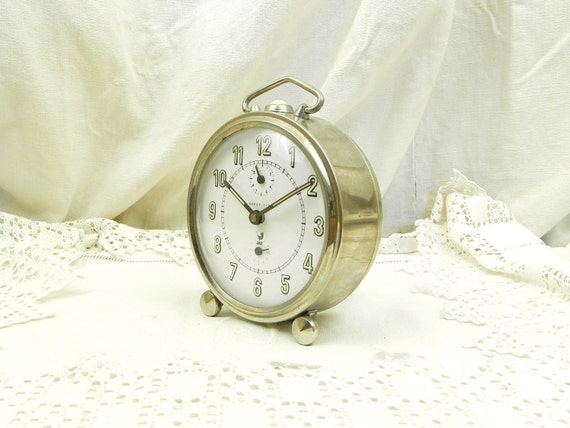 Large Working Vintage Mid Century Chrome Metal Jaz Wind Up Mechanical Alarm Clock France, French Bedside Timepiece, Brocante Bedroom Decor
