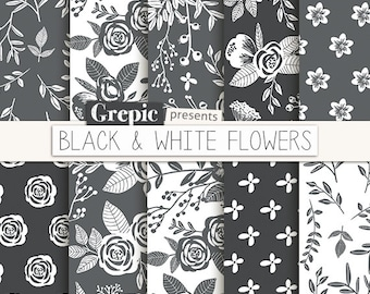 "Floral digital paper: ""BLACK & WHITE FLOWERS"" vintage flowers, hand drawn, patterns, floral background, grey, flower pattern, grayscale"