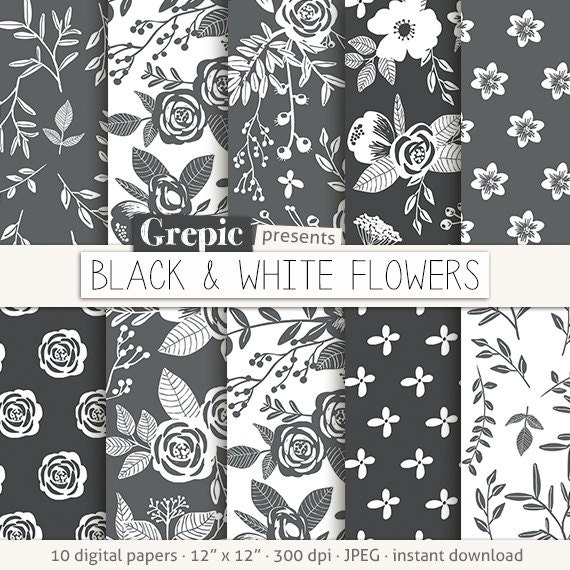 Floral Digital Paper BLACK WHITE FLOWERS