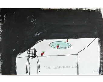 "the strawberry line, original drawing, figurative painting on paper, 5.31"" x 8.27"""