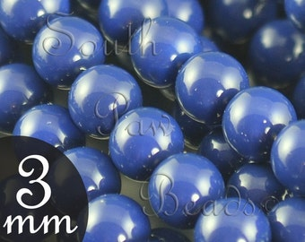 Dark Lapis 3mm glass pearl beads as style 5810 Gemcolors by Swarovski Crystals (50)