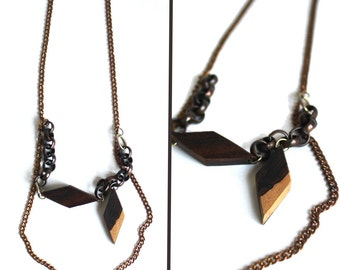 Wood Diamond Brass Chain Sustainable Necklace