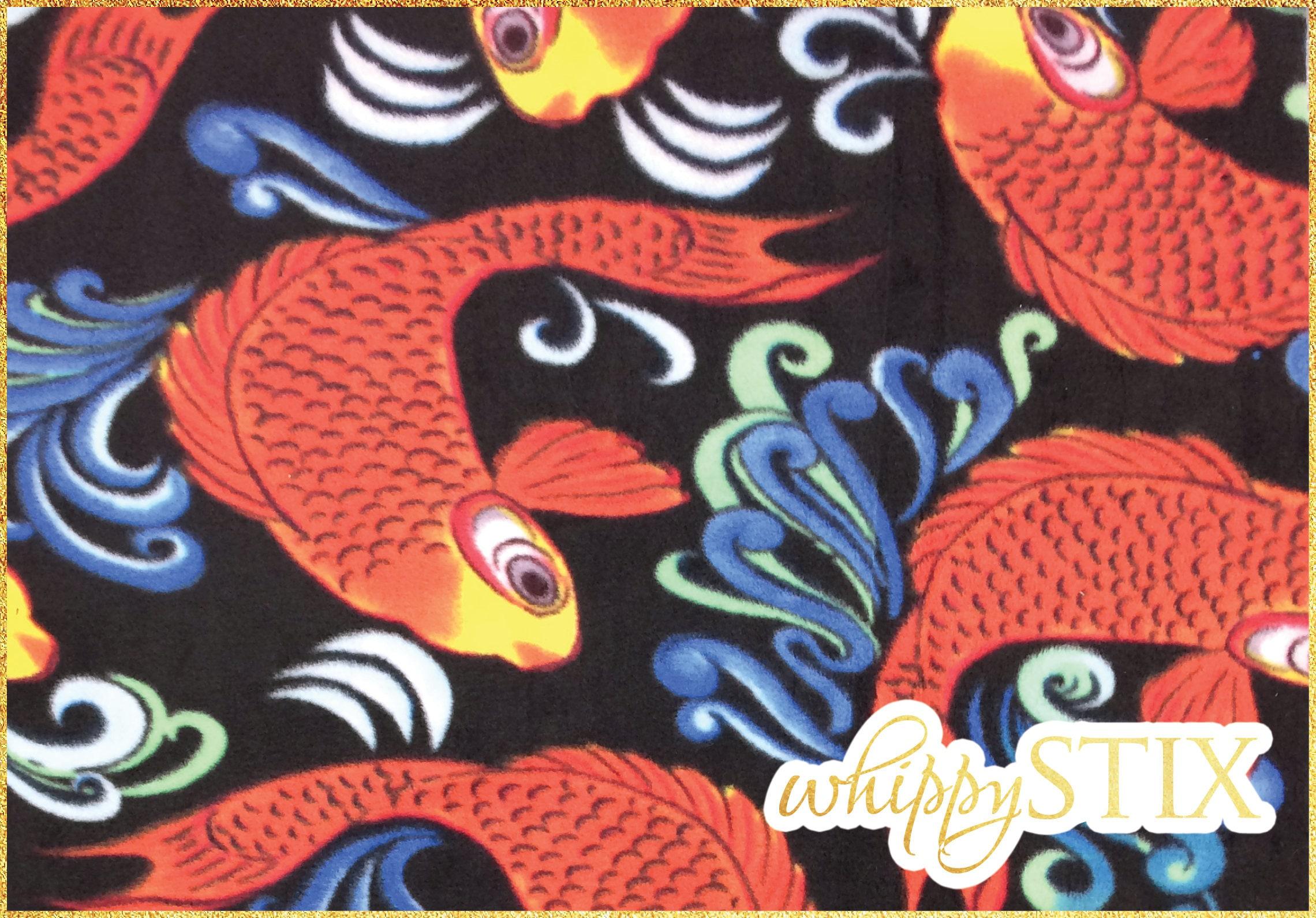 RARE! Koi Fish Polar Fleece Fabric By the Yard, Fish in Water on ...