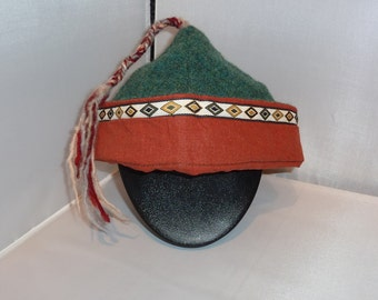 Green and Rust Wool Viking Four Panel Hat Living History Hat