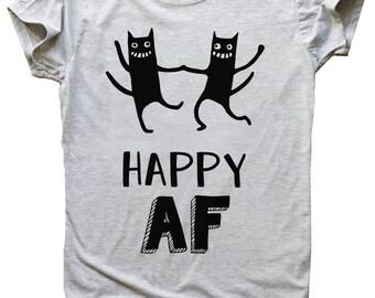 Happy AF Crazy Dancing Cats Design Men's T-shirt