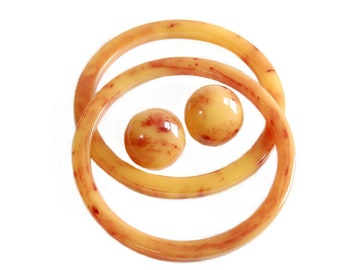Butterscotch Swirl Bakelite Bangles and Earrings Vintage Retro Jewelry Accessories