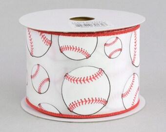 Baseball Print Ribbon ~ 2.5 inchWired Baseball Ribbon ~ Red & White Wired Edge Baseball Ribbon ~ Wired Ball Ribbon ~ 3 Yards