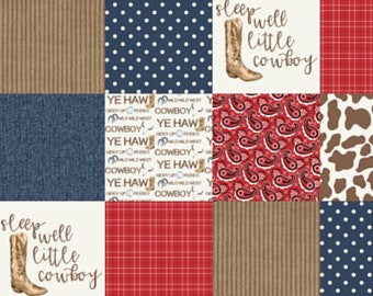 Cowboy Baby Quilt, Rustic Minky Baby Blanket, Cowboy Baby Blanket, Red Blue Navy Brown Cowboy Boots Patchwork Crib Quilt, Baby Boy Quilt