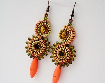Stacked Earrings green/orange