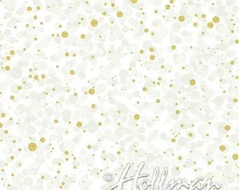Hoffman Bali Fabrics - Poinsettia Song - Q7637 22G - Ivory Gold - 100% cotton screenprint with metallic