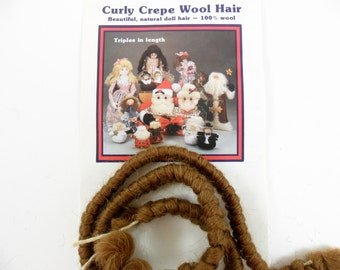 """Doll Hair Curly Crepe Wool Brown by All Cooped Up 100% Wool, Two 12"""" Lengths"""
