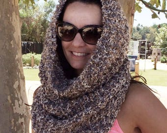 Bulky Hand Knit Cowl, Snood, Infinity Scarf, Neckwarmer, Circle Scarf, Hooded Scarf, Made in CA, Camel, Gray, Cream