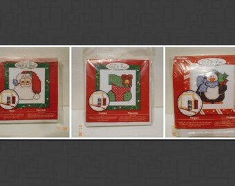 Santa, Stocking, Penguin, Stitch & Mail, card, set of 3, embroidery