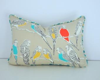 Outdoor Bird Pillow- Turquoise and Orange Bird Pillow Cover-Waverly Retweet Pillow Cover-Teal ,Orange and Yellow Pillow Cover
