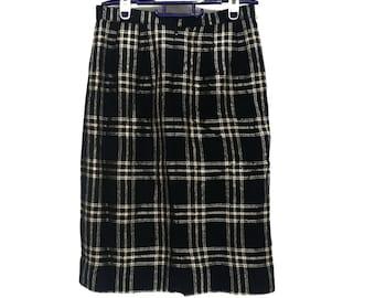 BURBERRY LONDON PRORSUM Nova Check Straight Skirt Dark Blue Made In Japan Pencil