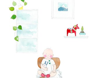 Cozy and Rosy - Giclée Watercolor Print for Children's Bedroom or Home Decor