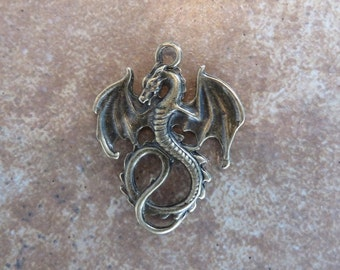 4 Angry Teenage Dragon Pendants Mythological Mystical Dragons Jewelry Supplies Bronze Tone 35x28mm