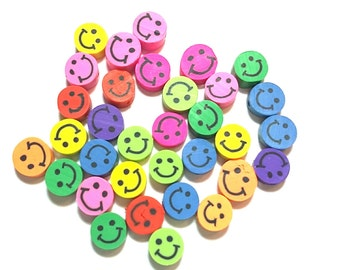 20 Fimo Polymer Clay Coin Round Beads Colorful Smiley Beads