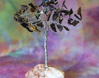 Mother of Pearl Wire Tree Sculpture on Red Rock