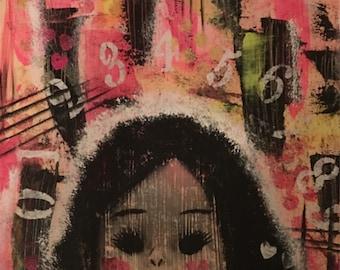 """Mixed media acrylic art - """"Fading Doll"""""""