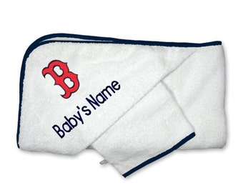 "Personalized Boston Red Sox Baby ""B"" Hooded Towel Set"