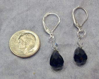 Black Onyx and White Quartz Earrings