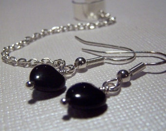 Ear Cuff with ChainBody Jewelry Black Heart Earring Set Ear Cuffs with Earrings