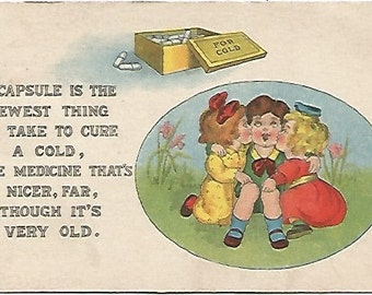 "Charming Girls kissing Boy on Cheek ""A Capsule is the Newest thing To Take To cure A Cold..."" Poem 1914 Vintage Postcard over 100 Years Old!"