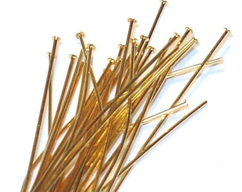 200pcs of gold plated brass headpin 1.75 inch long - 24 gauge