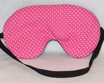 Handmade Hot Pink Polka Dot Cotton Sleep Eye Mask Blindfold Hen Stag Blackout Migraine Relief