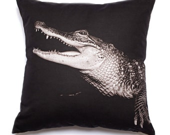 Fine Art Throw Pillow Crocodile