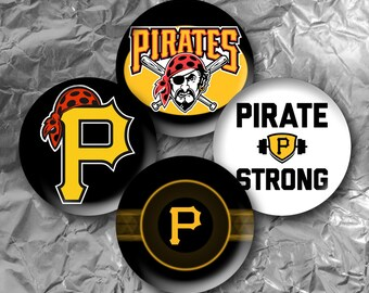 "Pittsburgh Pirates -  15 Images in 1 Inch Circles 4"" x 6"" Digital Collage Sheet For Bottle caps, Cupcake Toppers"