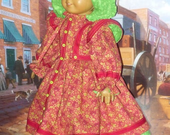 Prairie Town Dress and Bonnet fits American Girl Doll Kirsten