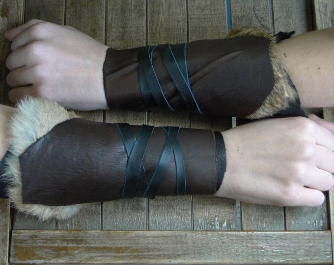 Leather Cuffs - Warrior Viking Tribal Larp Costume Cosplay - Pair #5c