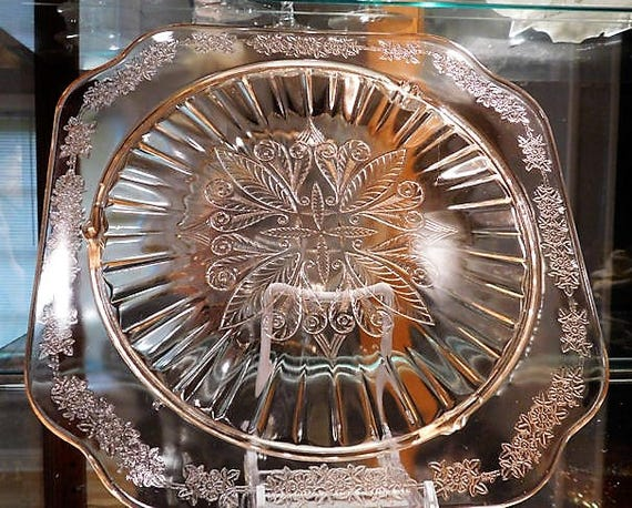 Pink Depression Glass /  Cake Plate / ADAM Pattern / 1930s Art Deco Cake Plate