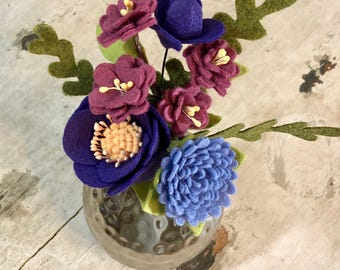 Purple flowers & Silver Vase