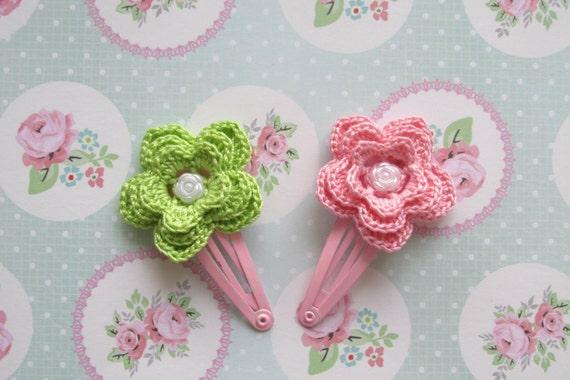 Pink Flower Hair Clip Pattern Baby Girl Hair Accessories