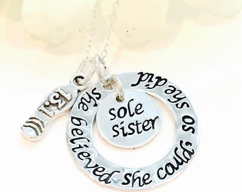 Hand Stamped Sole Sister Runners Necklace runners necklace full marathon necklace half marathon necklace